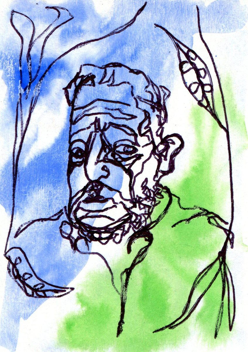 The image shows a piece of artwork by Jina Wallwork. It is an ink and watercolor drawing of Ernst Barlach. Stylistically this piece of artwork has links with expressionism.