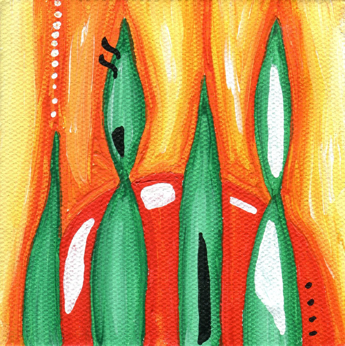 The image shows a piece of artwork by Jina Wallwork. It is a Painting of fields. Stylistically this piece of artwork has links with abstract art.