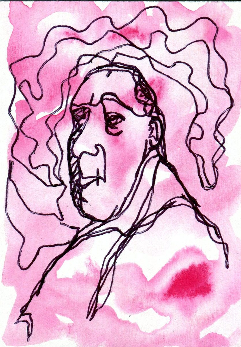 The image shows a piece of artwork by Jina Wallwork. It is an ink and watercolor drawing of Heinrich Campendonk. Stylistically this piece of artwork has links with expressionism.