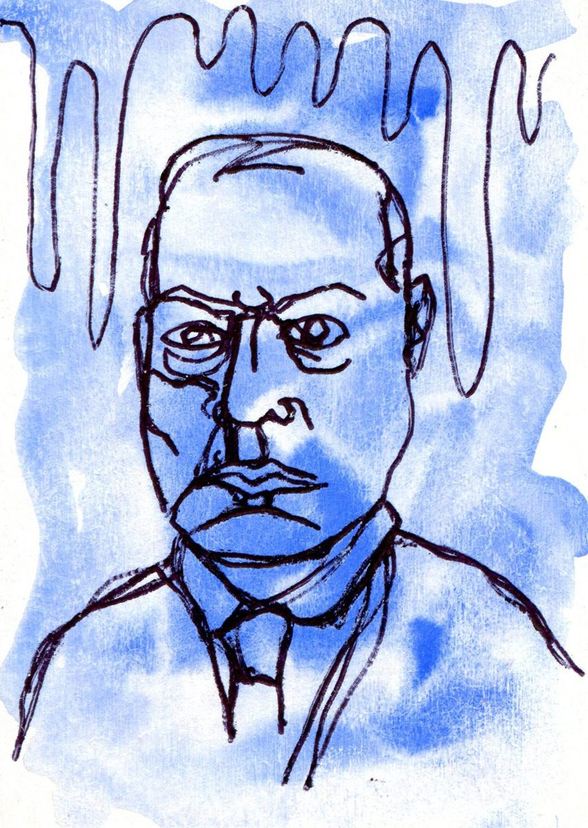 The image shows a piece of artwork by Jina Wallwork. It is an ink and watercolor drawing of Max Beckmann. Stylistically this piece of artwork has links with expressionism.