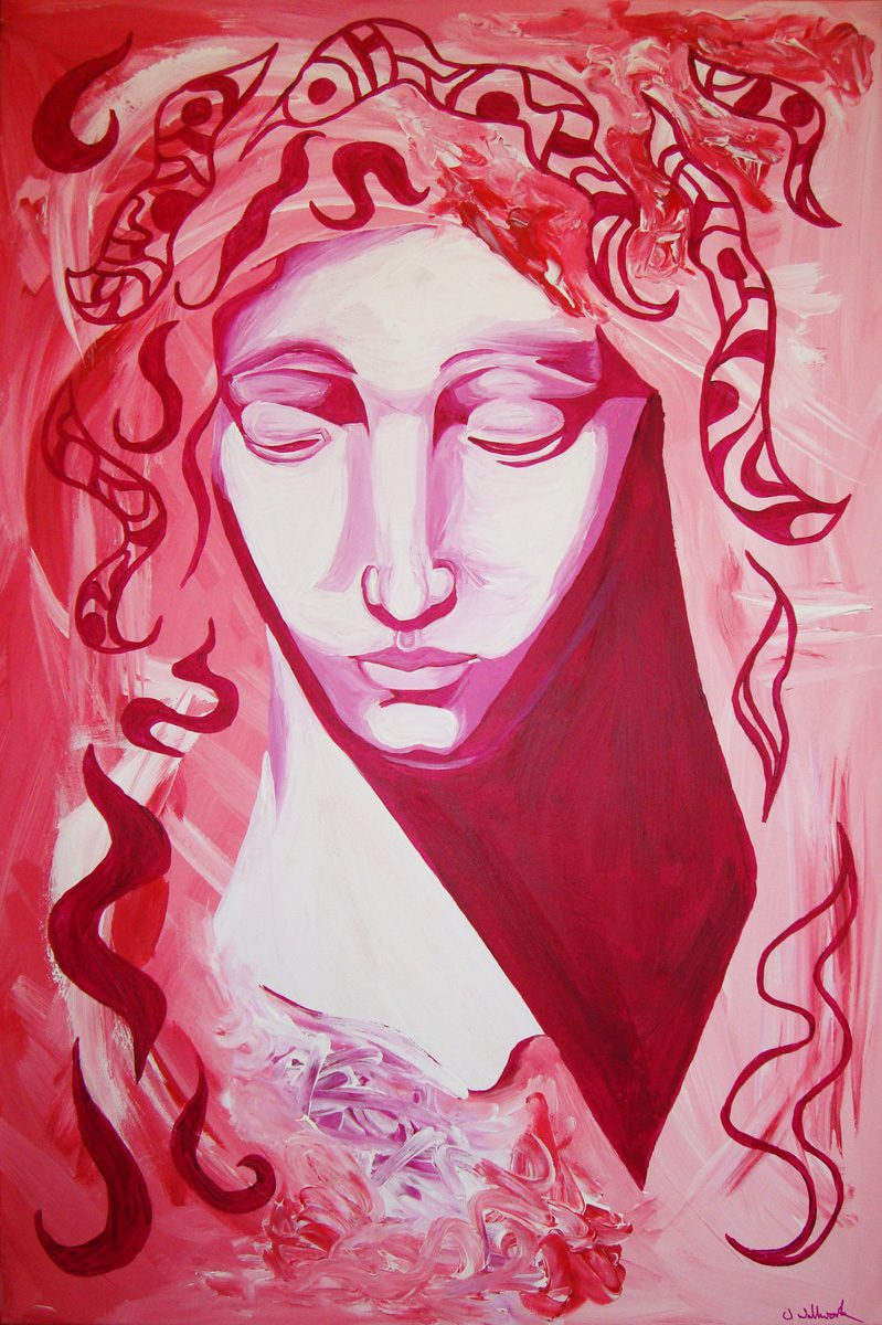 The image shows a piece of artwork by Jina Wallwork. It is a Painting of a person. The image is influenced by Michelangelo. Stylistically this piece of artwork has links with expressionism.