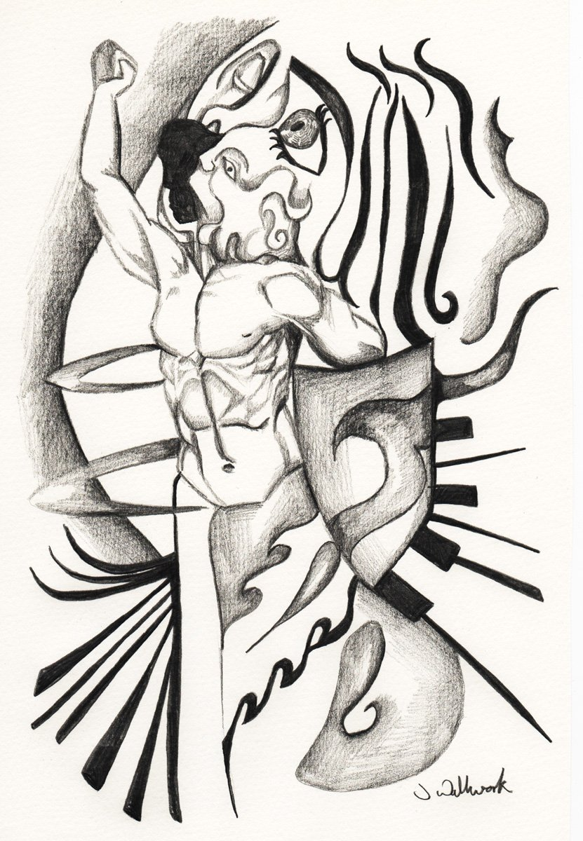 The image shows a piece of artwork by Jina Wallwork. It is a drawing of two people. Stylistically this piece of artwork has links with surrealism.