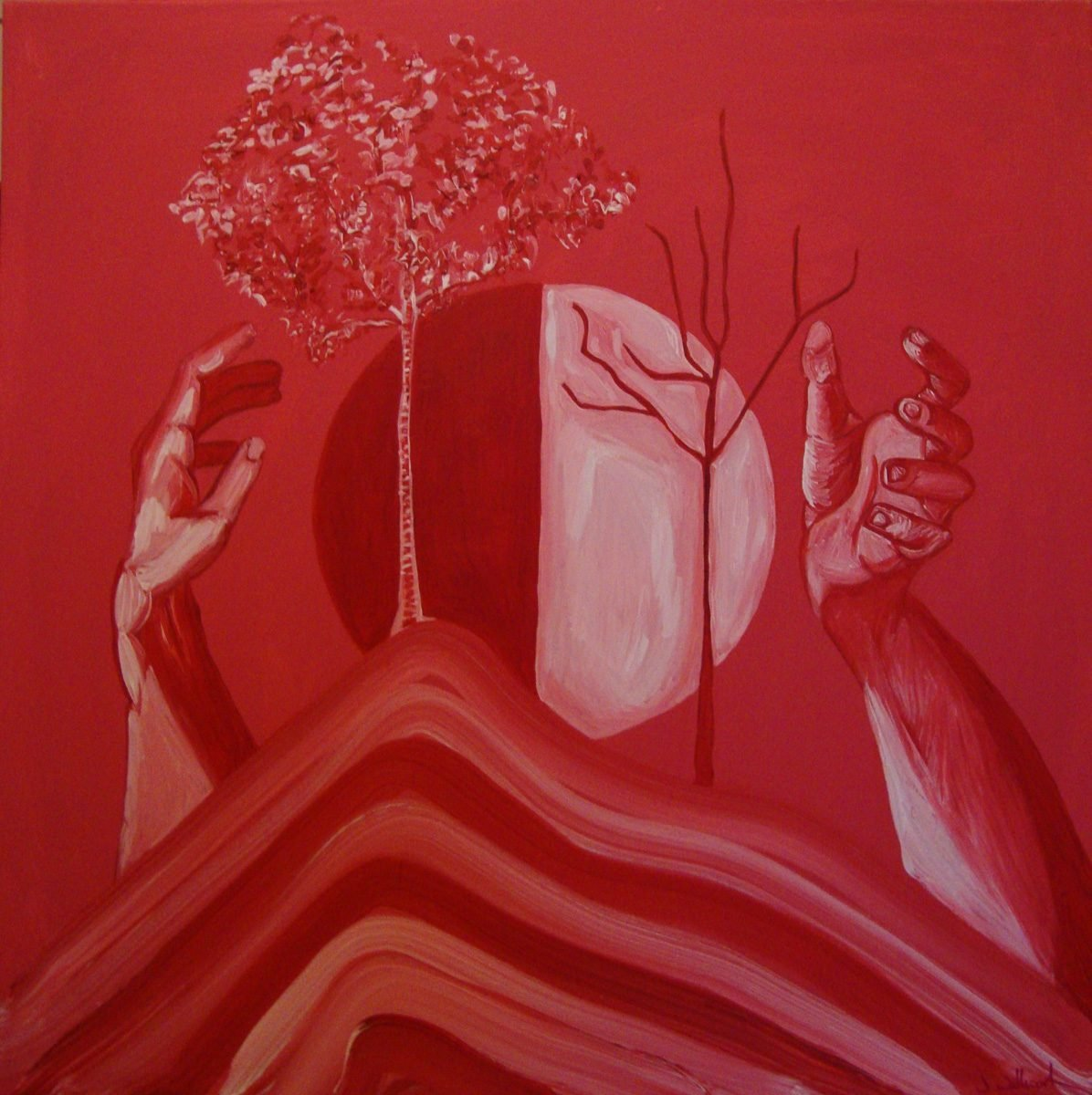 The image shows a piece of artwork by Jina Wallwork. It is a painting of hands and trees. Stylistically this piece of artwork has links with surrealism.