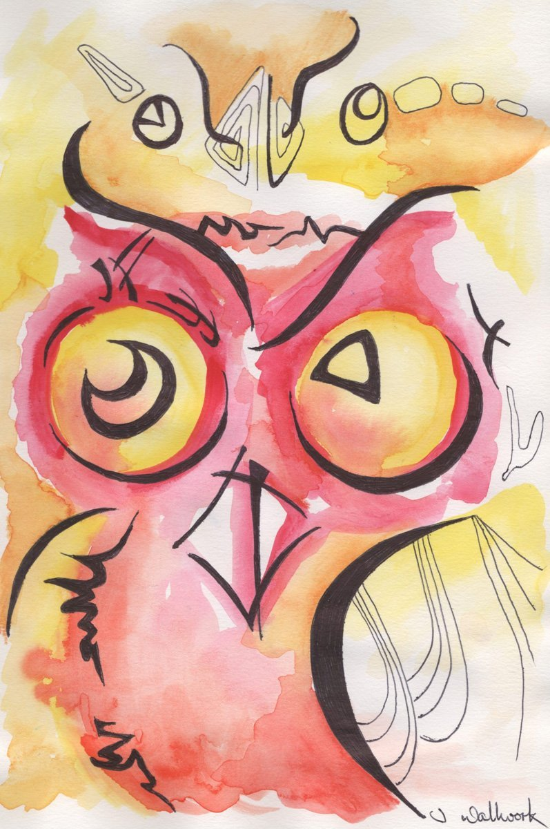 The image shows a piece of artwork by Jina Wallwork. It is an ink and watercolor painting of an owl. Stylistically this piece of artwork has links with expressionism.