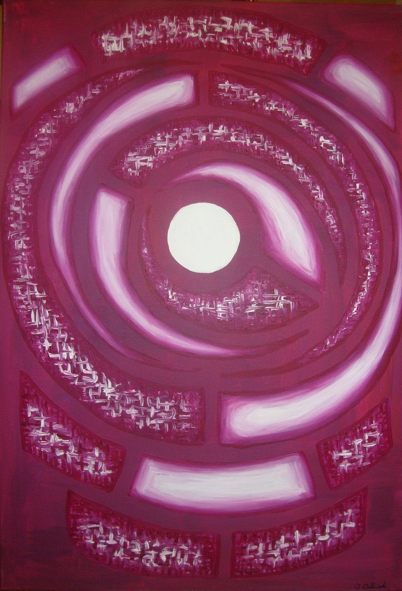 The image shows a piece of artwork by Jina Wallwork. It is a Painting of the moon's gravity. Stylistically this piece of artwork has links with abstract art.