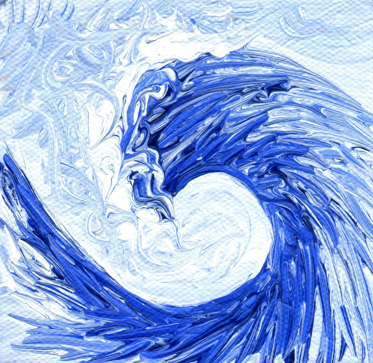 The image shows a piece of artwork by Jina Wallwork. It is a painting of the sea. Stylistically this piece of artwork has links with expressionism.