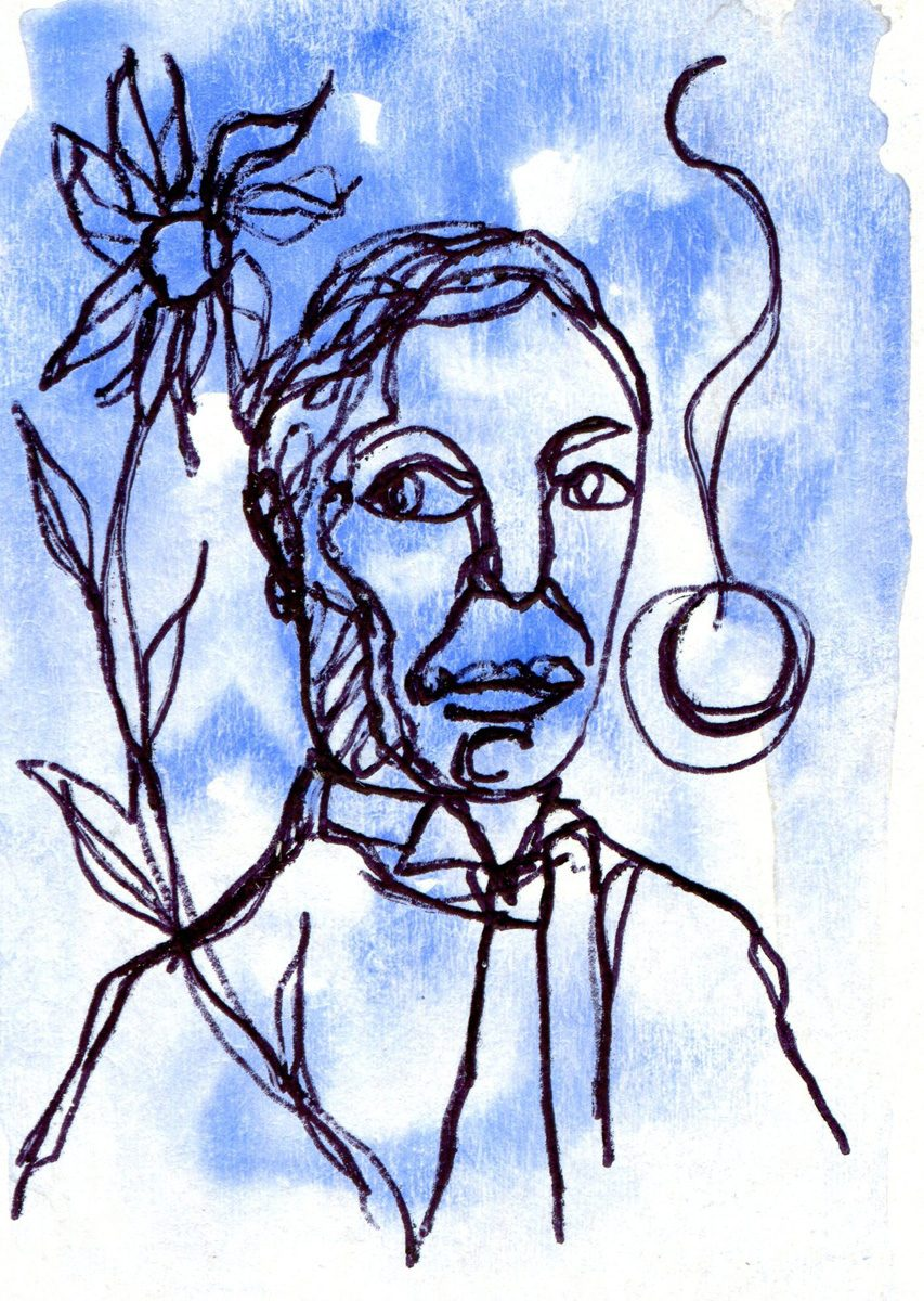 The image shows a piece of artwork by Jina Wallwork. It is an ink and watercolor drawing of Wassily Kandinsky. Stylistically this piece of artwork has links with expressionism.