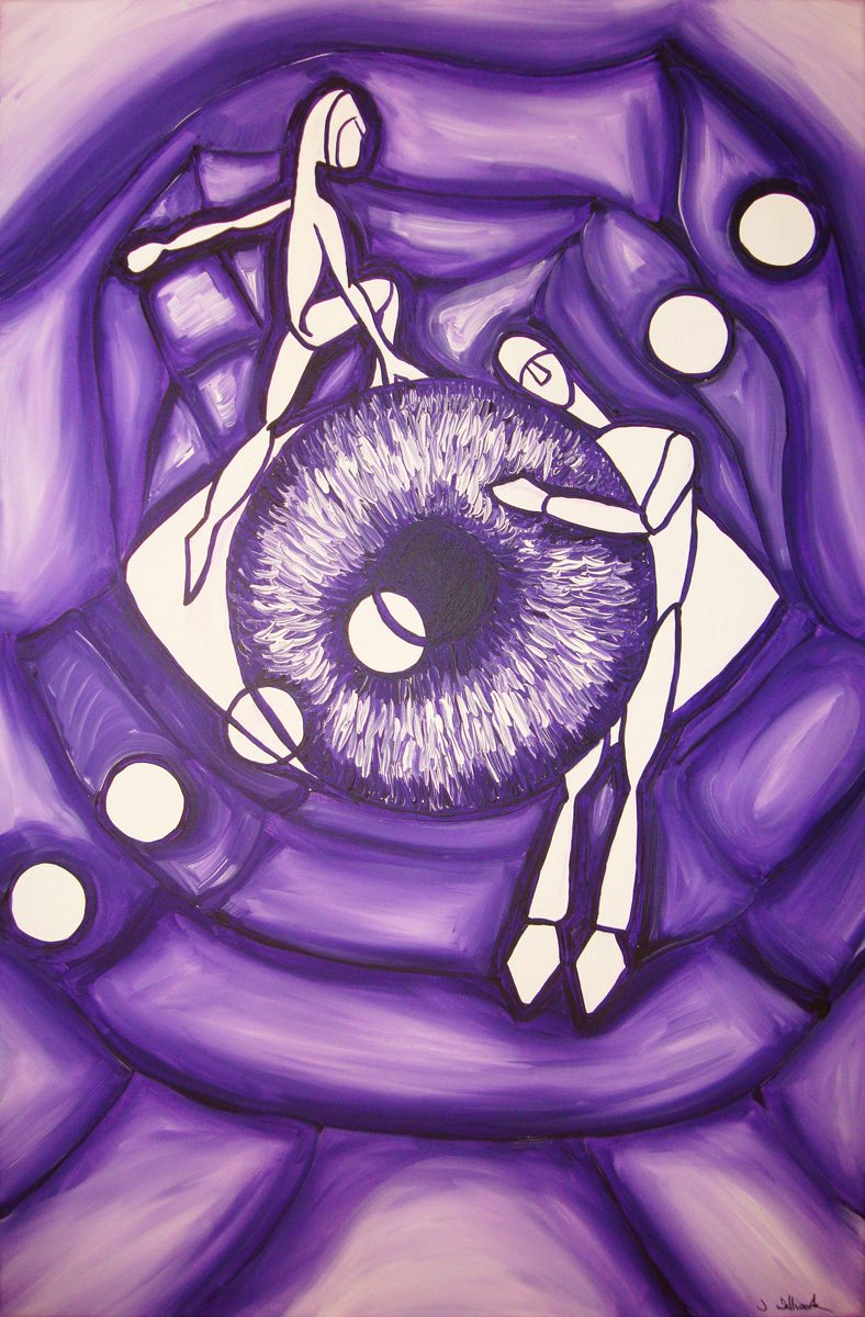 The image shows a piece of artwork by Jina Wallwork. It is a painting of two people and an eye. Stylistically this piece of artwork has links with expressionism and surrealism.