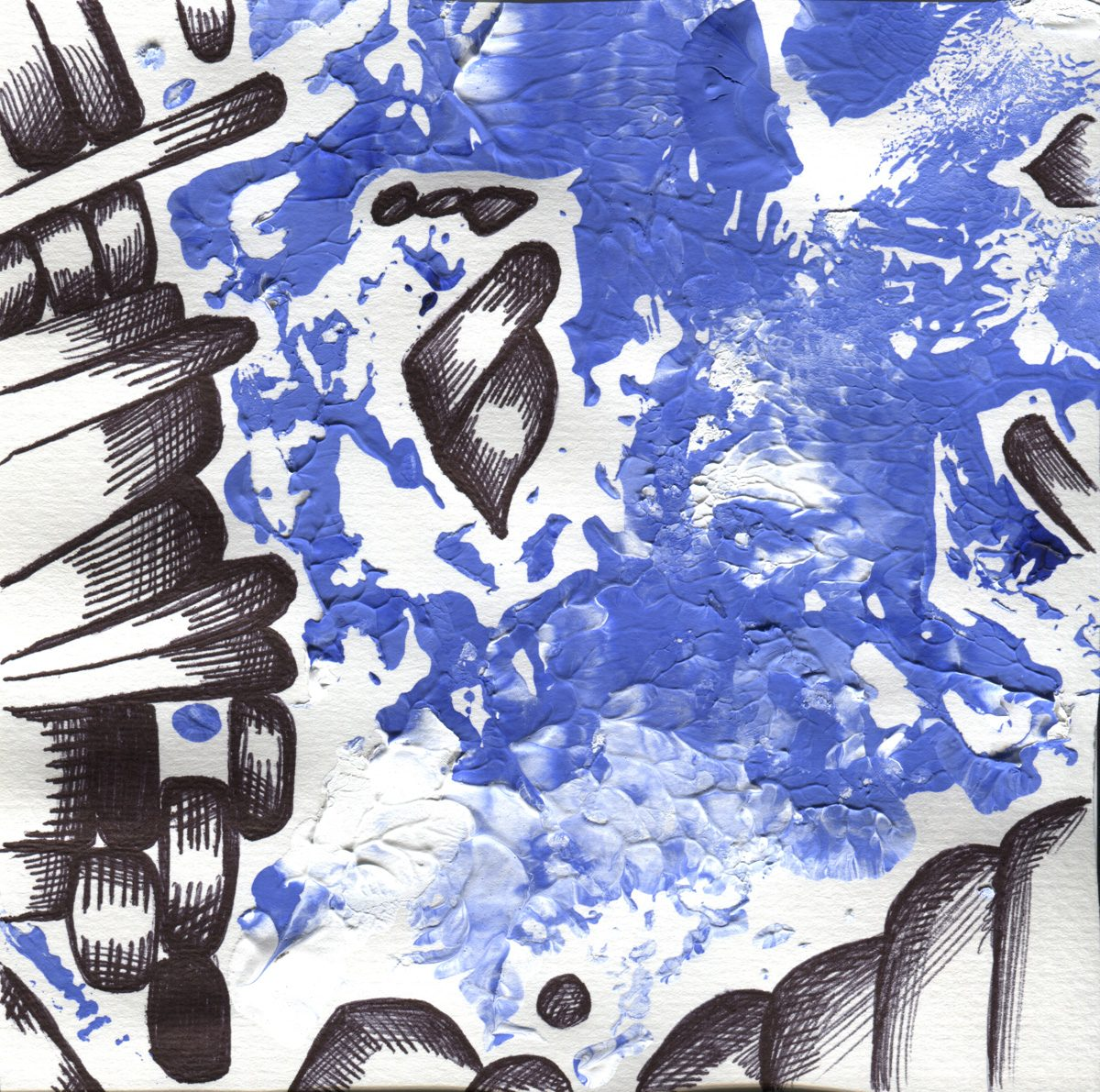 The image shows a piece of artwork by Jina Wallwork. It is a paint and ink drawing of abstract subject matter. Stylistically this piece of artwork has links with abstract art.