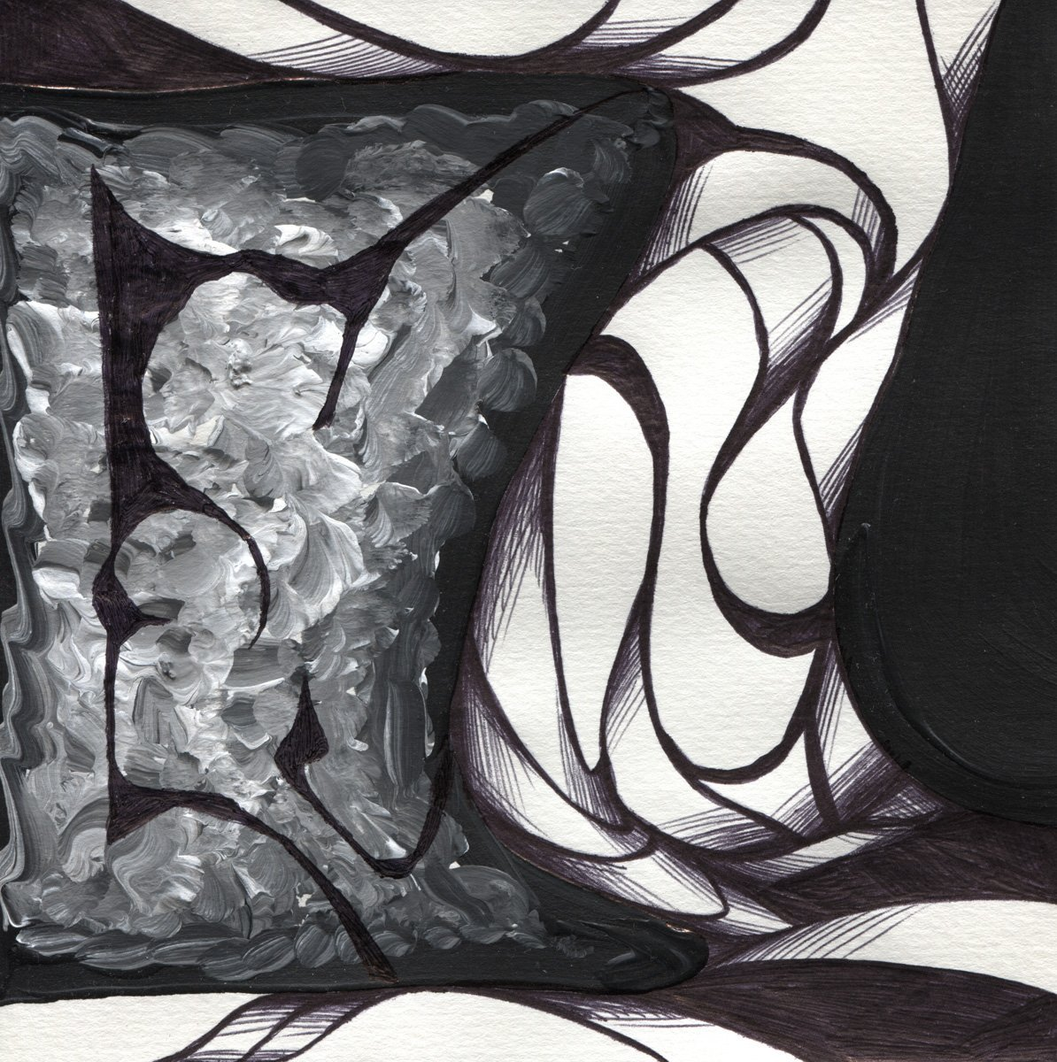 The image shows a piece of artwork by Jina Wallwork. It is a paint and ink drawing of rain clouds. Stylistically this piece of artwork has links with abstract art.