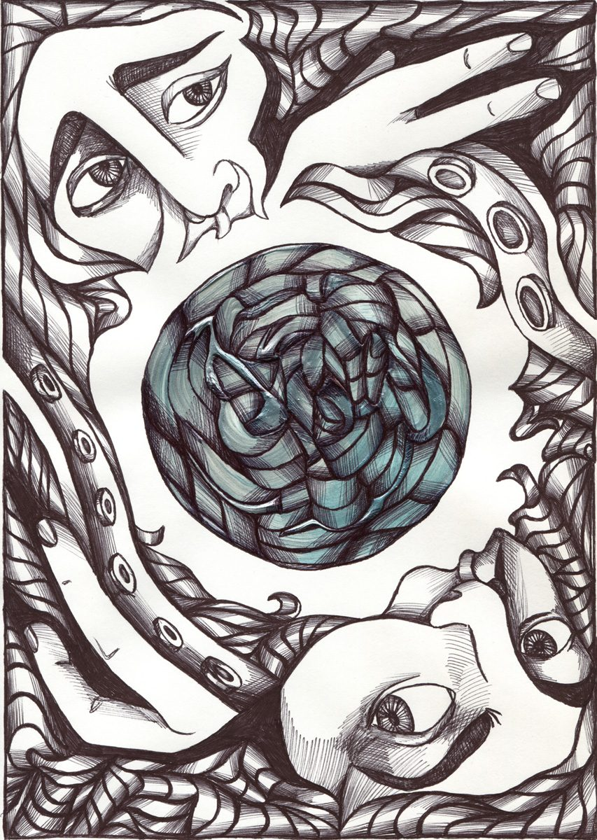 The image shows a piece of artwork by Jina Wallwork. It is a paint and ink drawing of two people. Stylistically this piece of artwork has links with expressionism and surrealism.