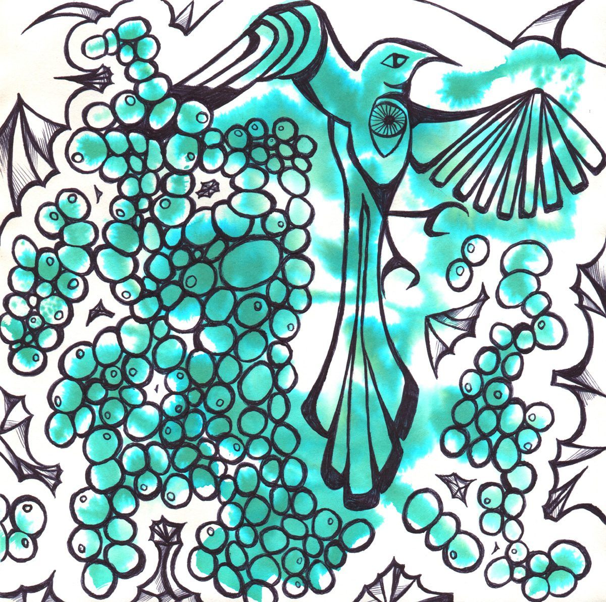 The image shows a piece of artwork by Jina Wallwork. It is an ink drawing of a bird. Stylistically this piece of artwork has links with expressionsim.