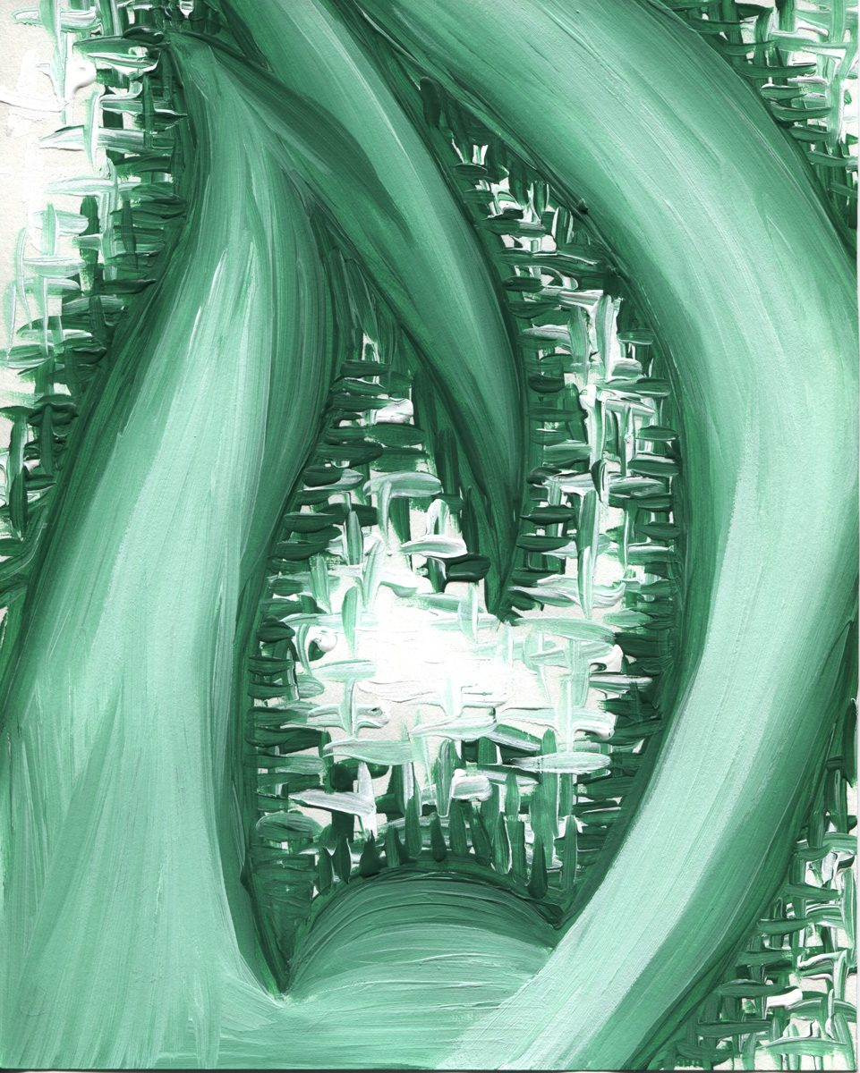 The image shows a piece of artwork by Jina Wallwork. It is a painting of abstract subject matter. Stylistically this piece of artwork has links with abstract art.