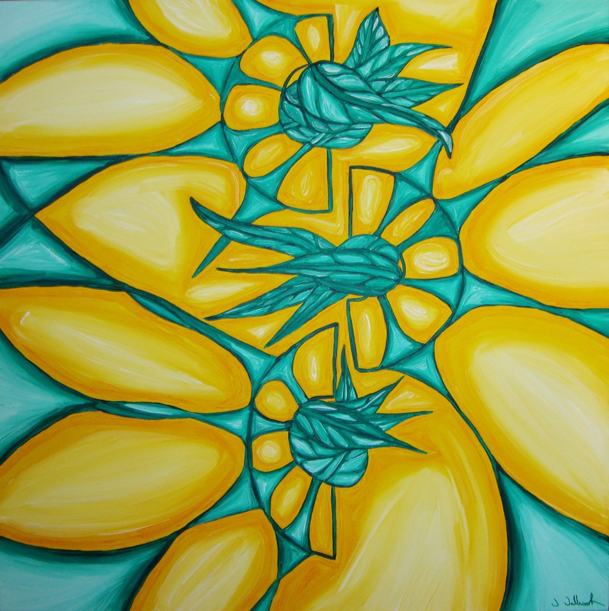 The image shows a piece of artwork by Jina Wallwork. It is a painting of flowers. Stylistically this piece of artwork has links with abstract art.