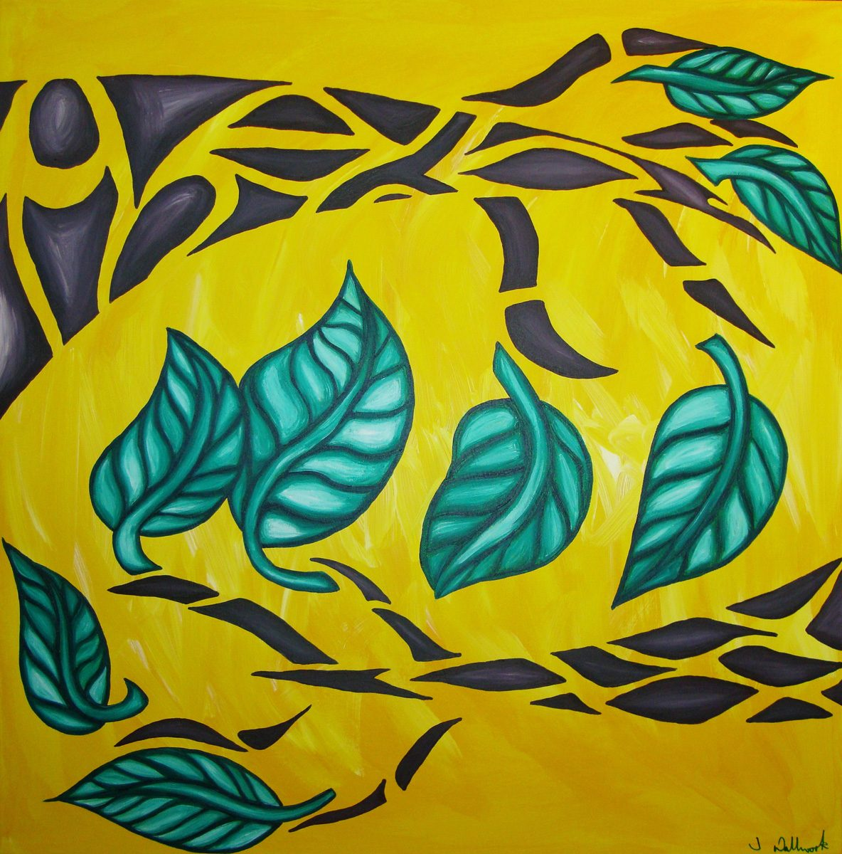 The image shows a piece of artwork by Jina Wallwork. It is a painting of trees. Stylistically this piece of artwork has links with expressionism.