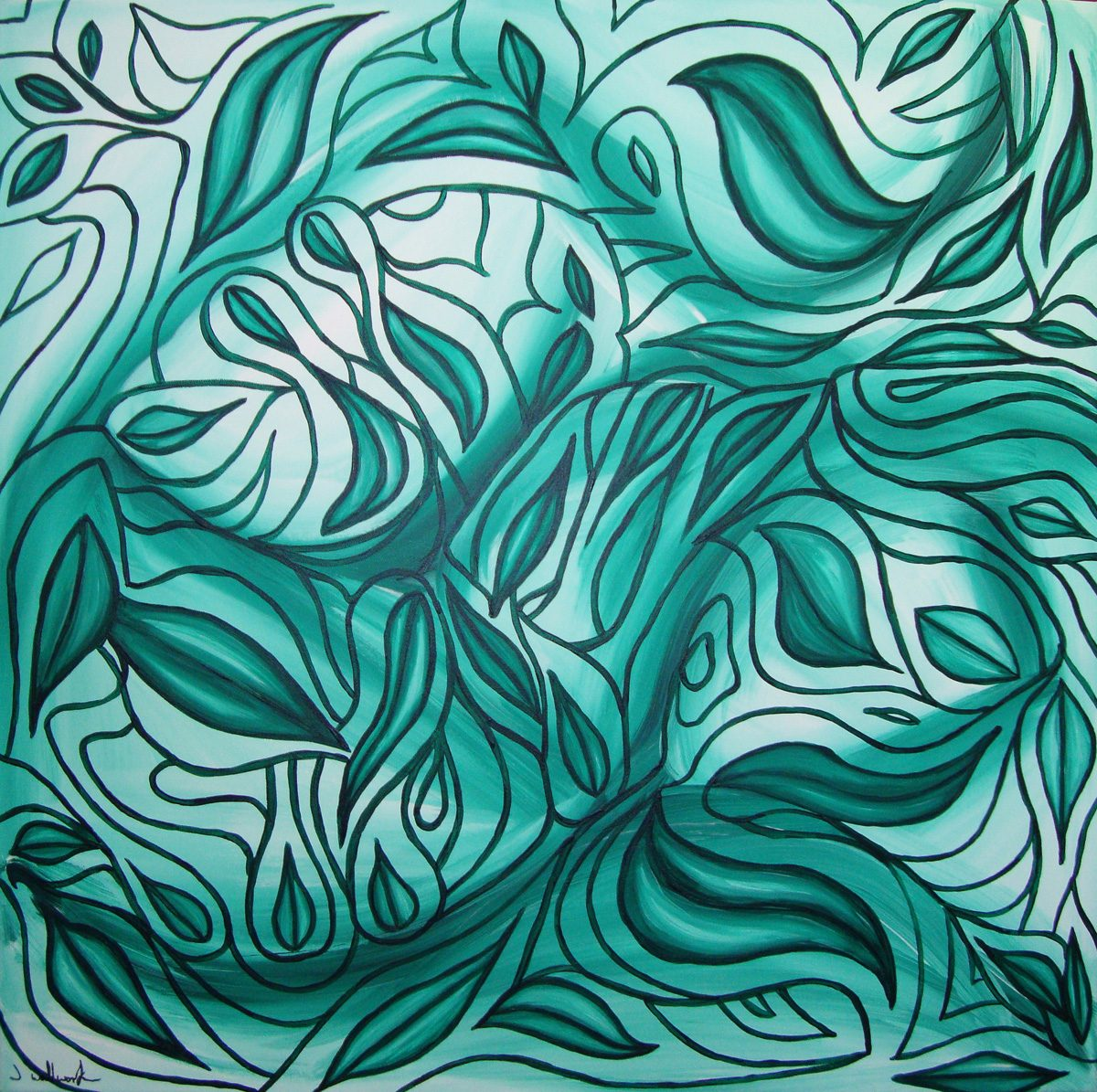 The image shows a piece of artwork by Jina Wallwork. It is a painting of leaves. Stylistically this piece of artwork has links with abstract art.