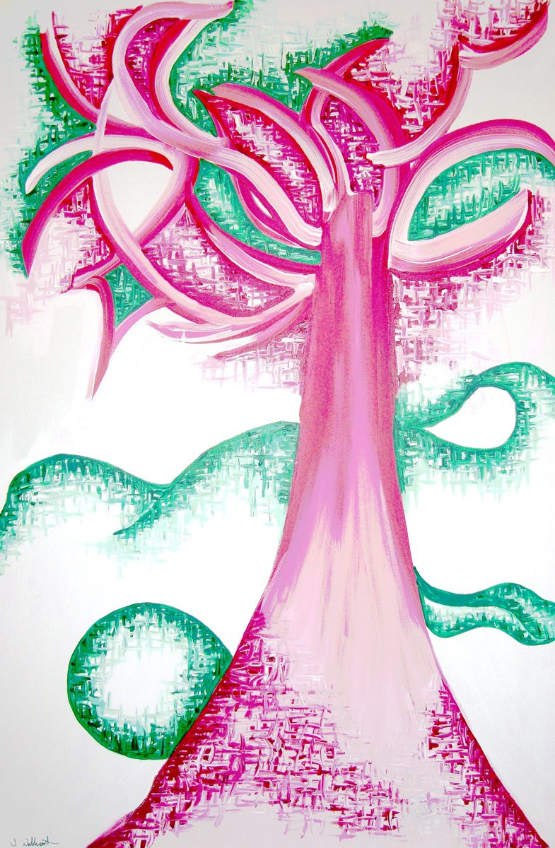 The image shows a piece of artwork by Jina Wallwork. It is a painting of a tree. Stylistically this piece of artwork has links with expressionism.