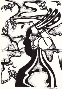 The image shows a piece of artwork by Jina Wallwork. It is an ink drawing of two people. Stylistically this piece of artwork has links with expressionism.