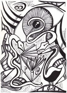 The image shows a piece of artwork by Jina Wallwork. It is an ink drawing of an eye and pencil that is also a bird. Stylistically this piece of artwork has links with surrealism.