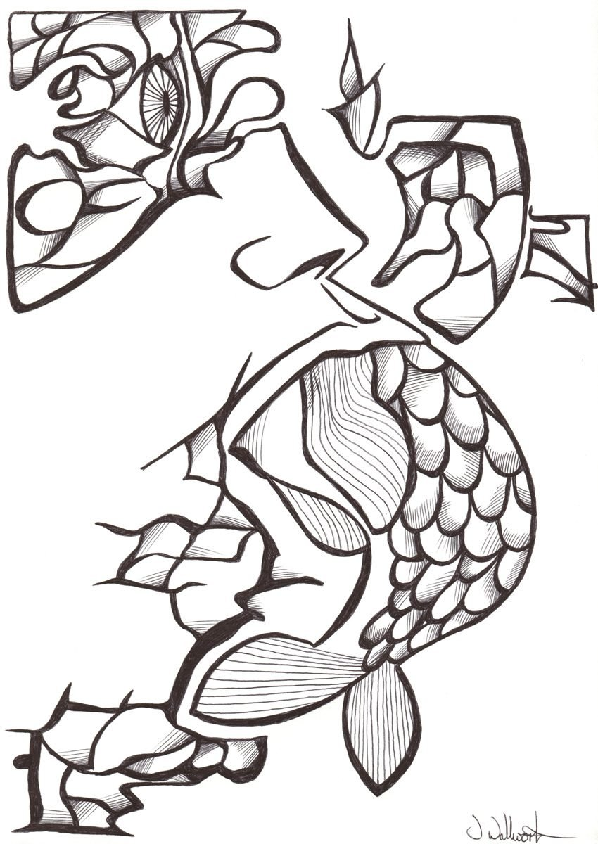 The image shows a piece of artwork by Jina Wallwork. It is an ink drawing of a person and a fish. Stylistically this piece of artwork has links with expressionism.