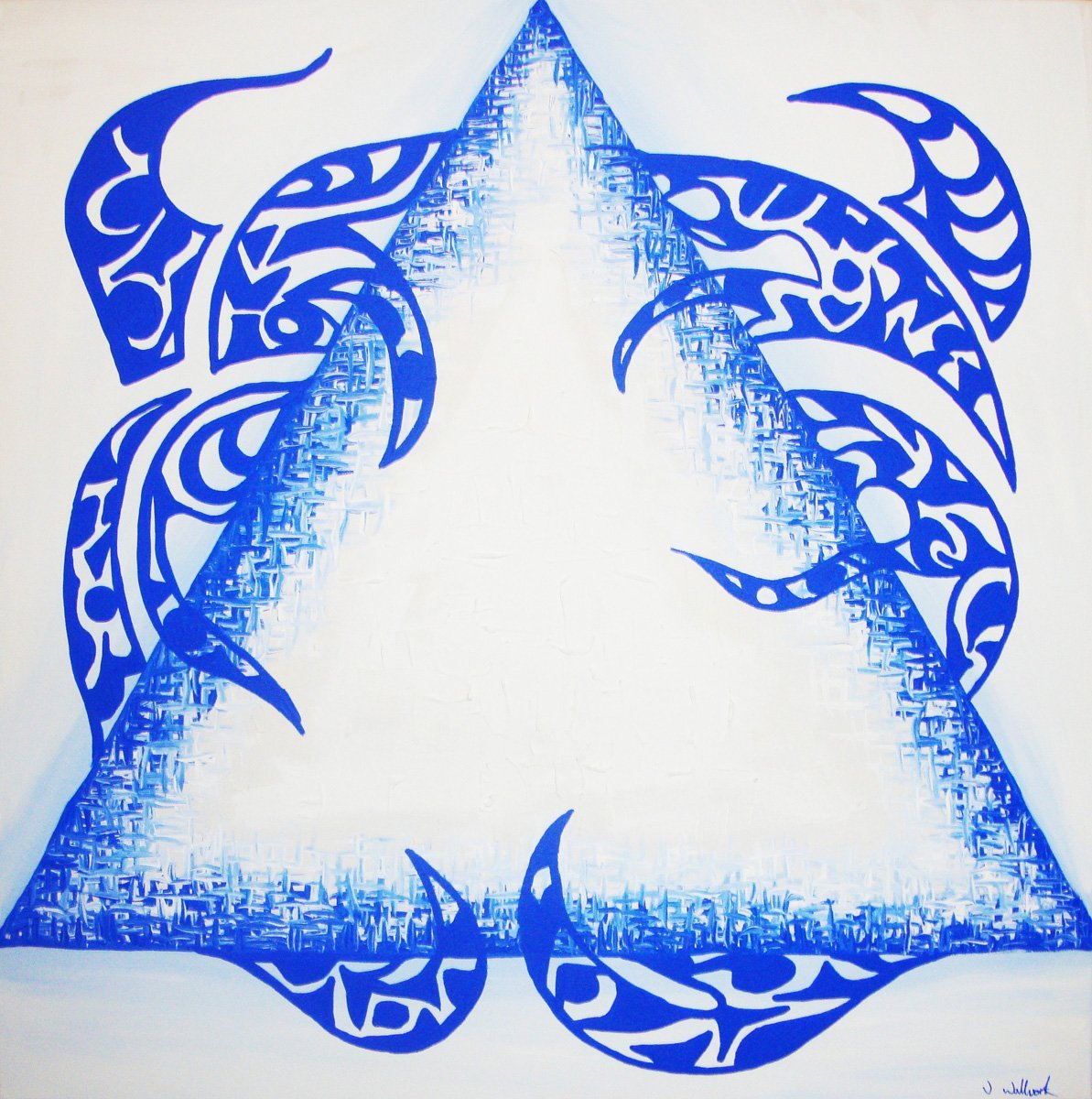 The image shows a piece of artwork by Jina Wallwork. It is a painting of a triangle. Stylistically this piece of artwork has links with abstract art.