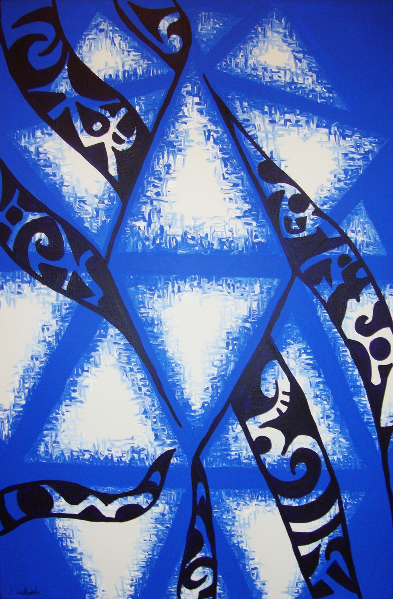 The image shows a piece of artwork by Jina Wallwork. It is a painting of triangles. Stylistically this piece of artwork has links with abstract art.
