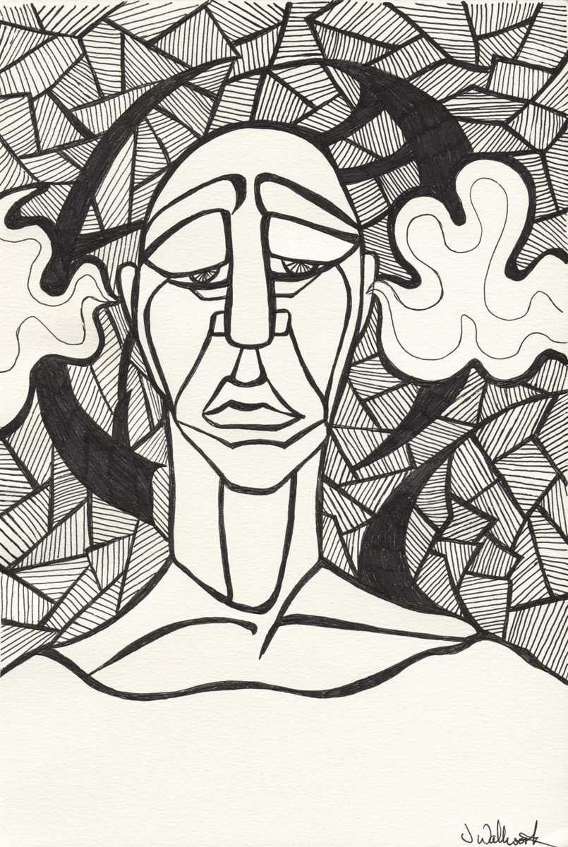 The image shows a piece of artwork by Jina Wallwork. It is a ink drawing of a man. Stylistically this piece of artwork has links with expressionism.