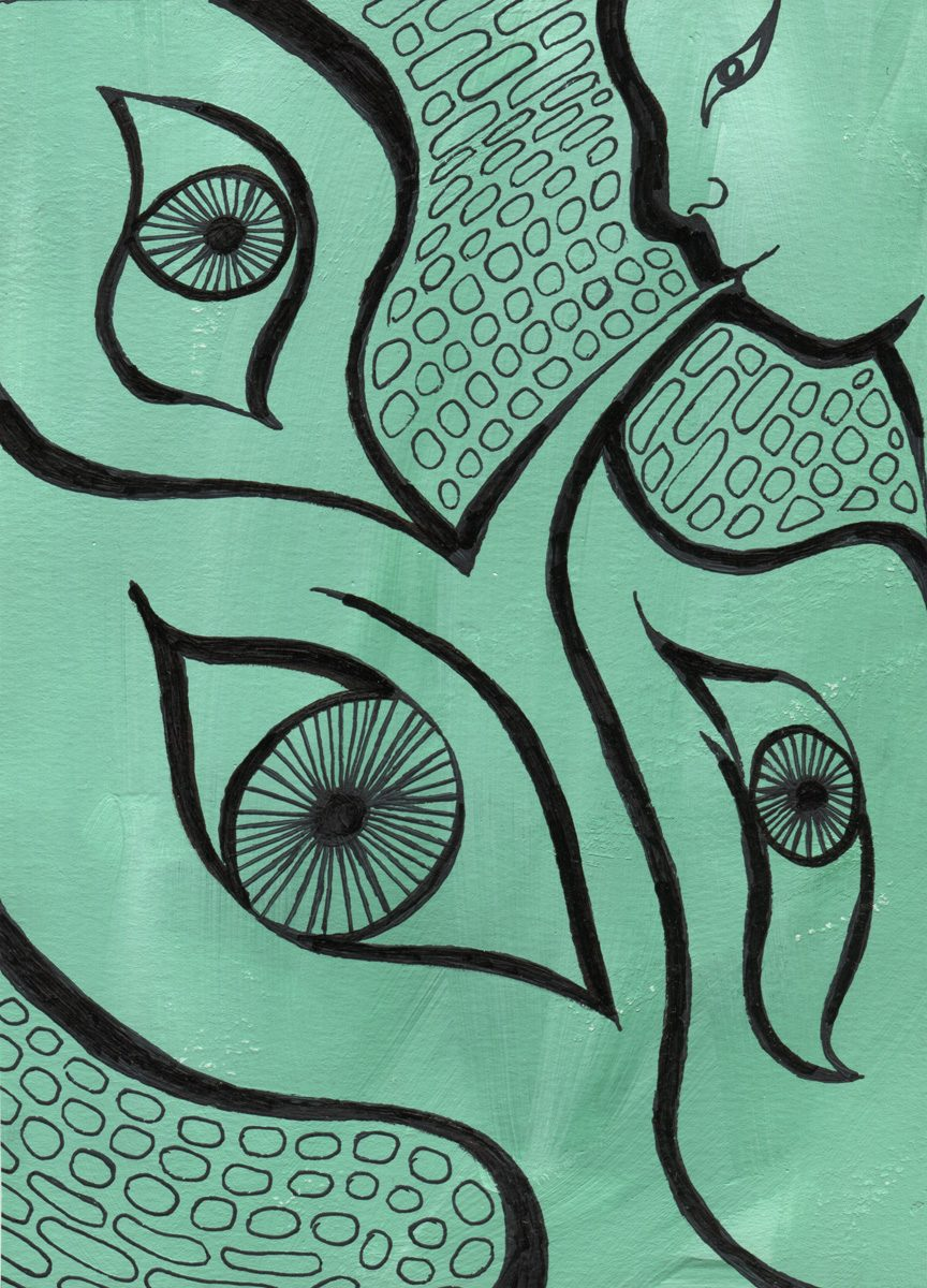 The image shows a piece of artwork by Jina Wallwork. It is a paint and ink drawing of a person with eyes leaving their mouth. Stylistically this piece of artwork has links with surrealism.