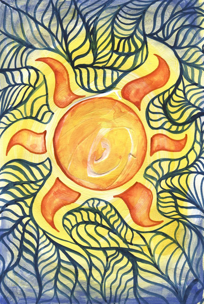 The image shows a piece of artwork by Jina Wallwork. It is a painting of the sun. Stylistically this piece of artwork has links with expressionism.