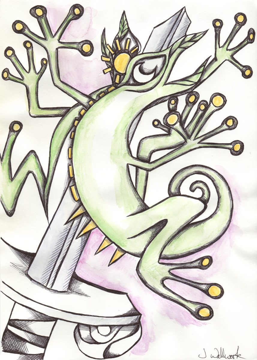The image shows a piece of artwork by Jina Wallwork. It is an ink and watercolor painting of a reptile. Stylistically this piece of artwork has links with surrealism.