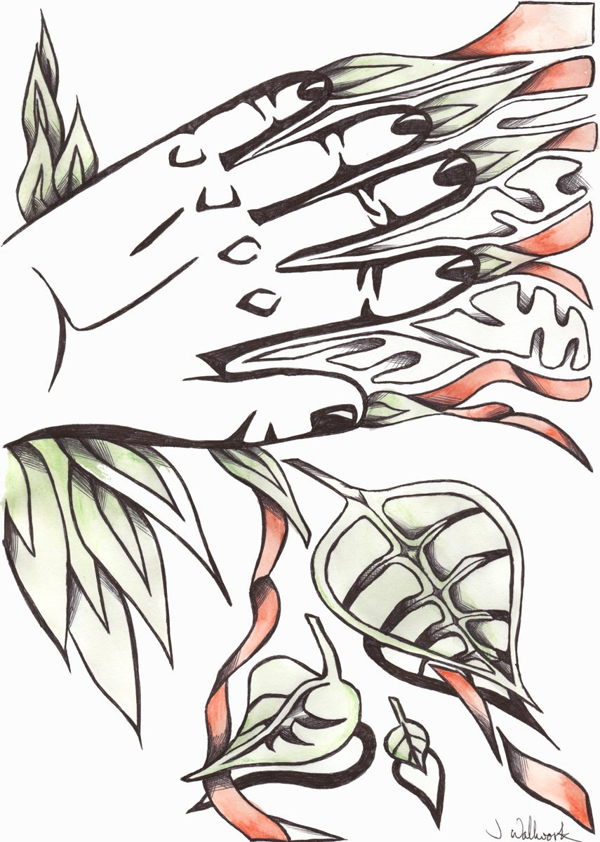 The image shows a piece of artwork by Jina Wallwork. It is an ink and watercolor painting of a hand and some leaves. Stylistically this piece of artwork has links with expressionism.