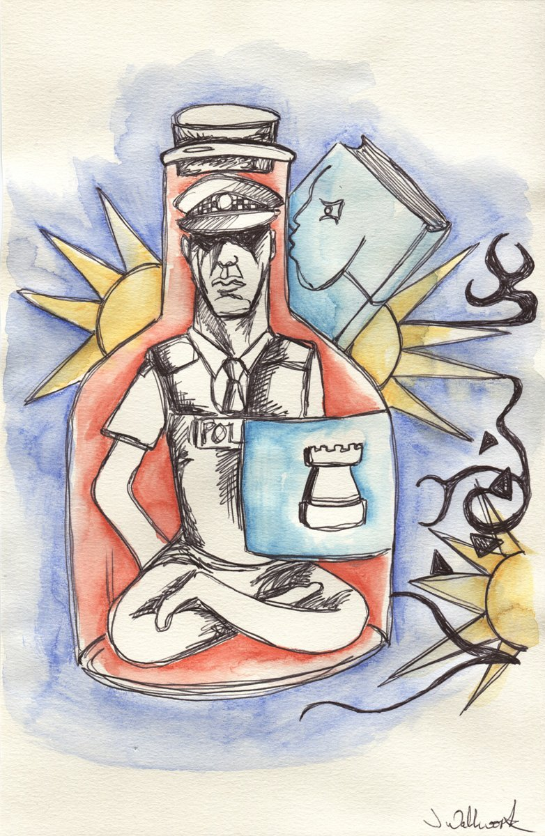 The image shows a piece of artwork by Jina Wallwork. It is an ink and watercolor painting of a policeman. Stylistically this piece of artwork has links with surrealism.
