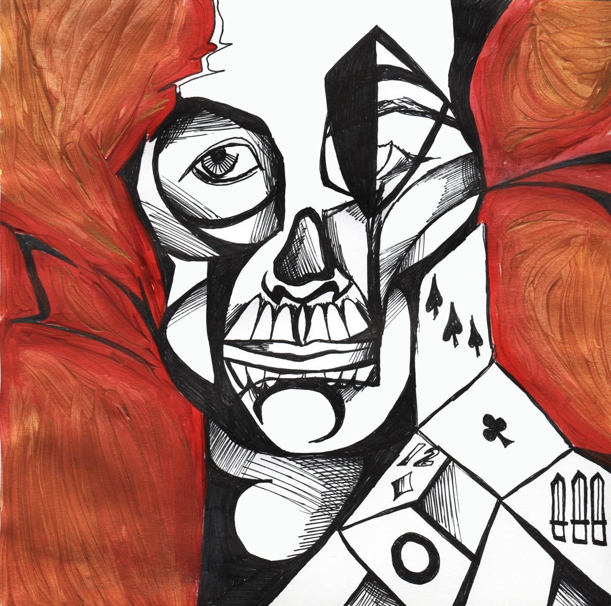 The image shows a piece of artwork by Jina Wallwork. It is an ink and paint drawing of Jina Wallwork. It's a self portrait. Stylistically this piece of artwork has links with surrealism.