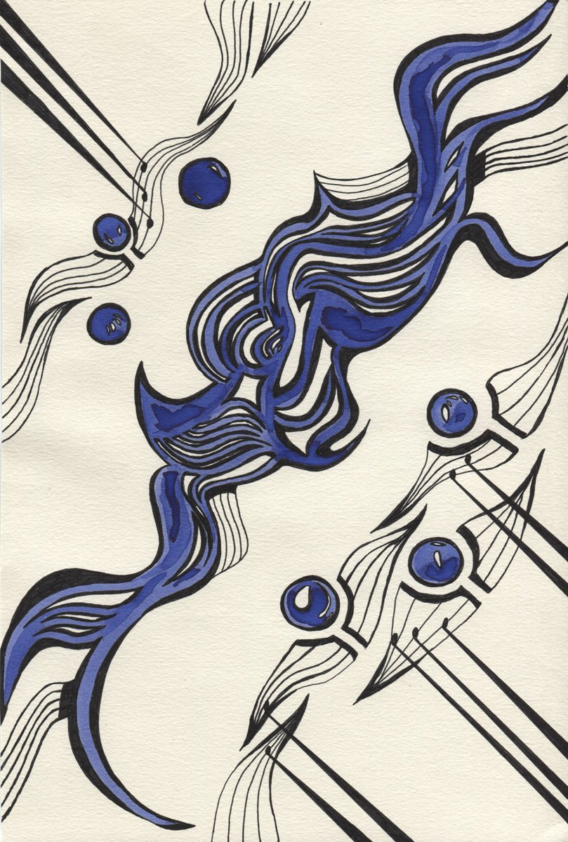 The image shows a piece of artwork by Jina Wallwork. It is an ink drawing of abstracted sheet music. Stylistically this piece of artwork has links with abstract art and expressionism.