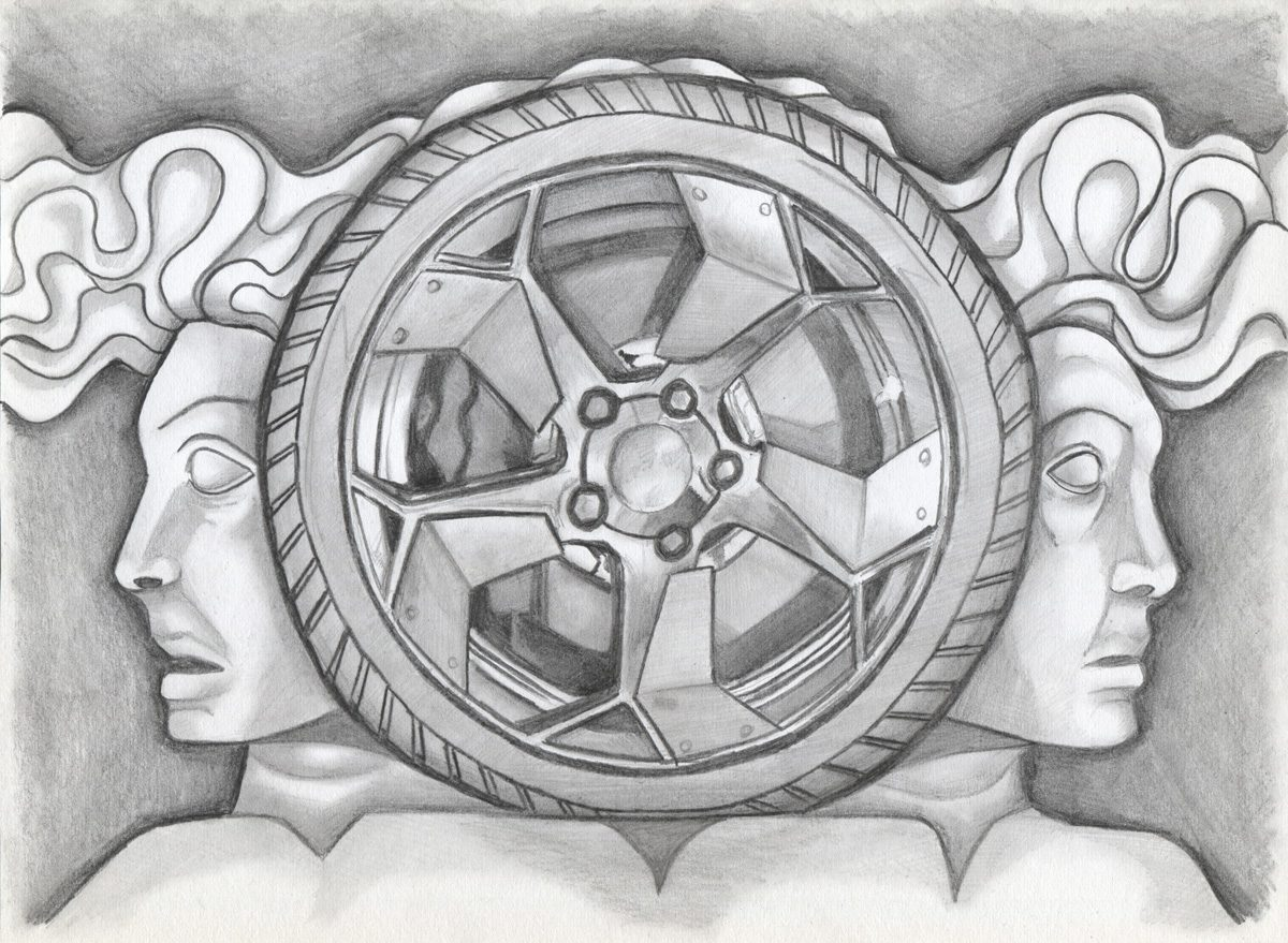 The image shows a piece of artwork by Jina Wallwork. It is a drawing of two people and a wheel. Stylistically this piece of artwork has links with surrealism.