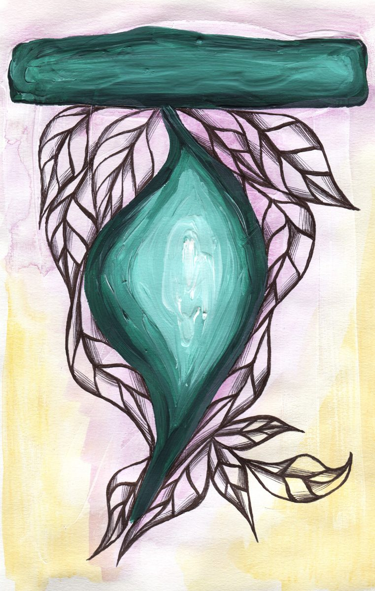 The image shows a piece of artwork by Jina Wallwork. It is a ink and paint drawing of leaves. Stylistically this piece of artwork has links with expressionism.
