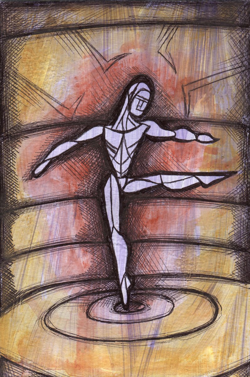 The image shows a piece of artwork by Jina Wallwork. It is a paint and ink drawing of a person dancing. Stylistically this piece of artwork has links with expressionism.
