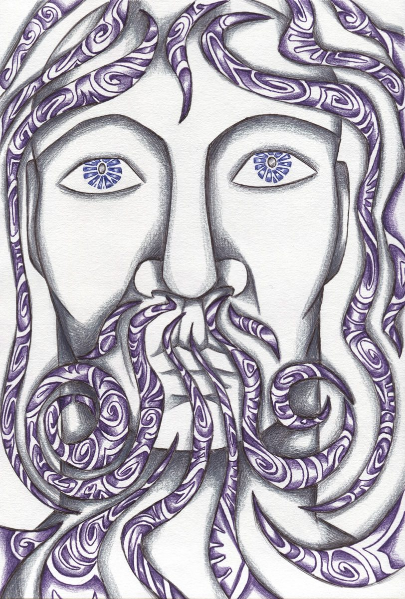The image shows a piece of artwork by Jina Wallwork. It is a drawing of a person breathing. Stylistically this piece of artwork has links with expressionism.