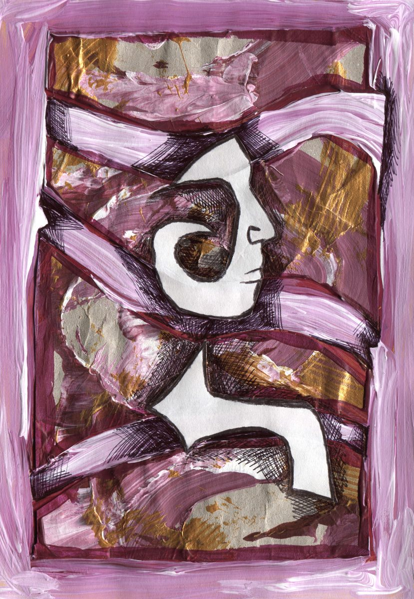 The image shows a piece of artwork by Jina Wallwork. It is an ink and paint drawing of a person. Stylistically this piece of artwork has links with expressionism.
