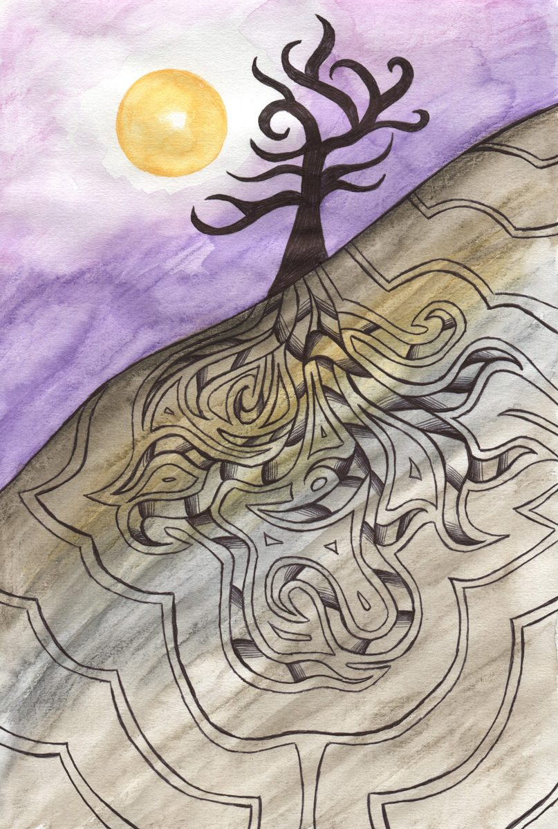 The image shows a piece of artwork by Jina Wallwork. It is an ink and watercolor painting of a tree. Stylistically this piece of artwork has links with expressionism.