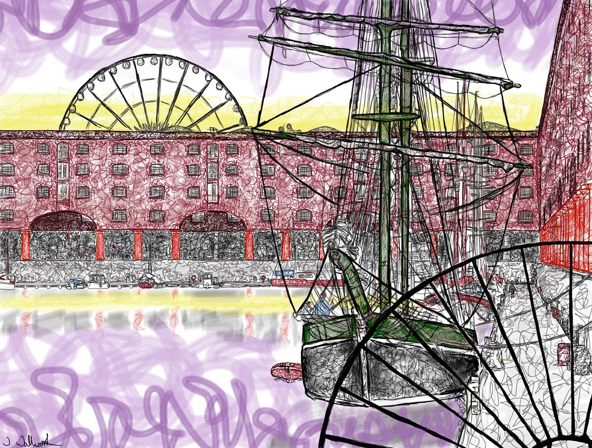 The image shows a piece of artwork by Jina Wallwork. It is a digital drawing of the Albert Dock in Liverpool. Stylistically this piece of artwork has links with expressionism.
