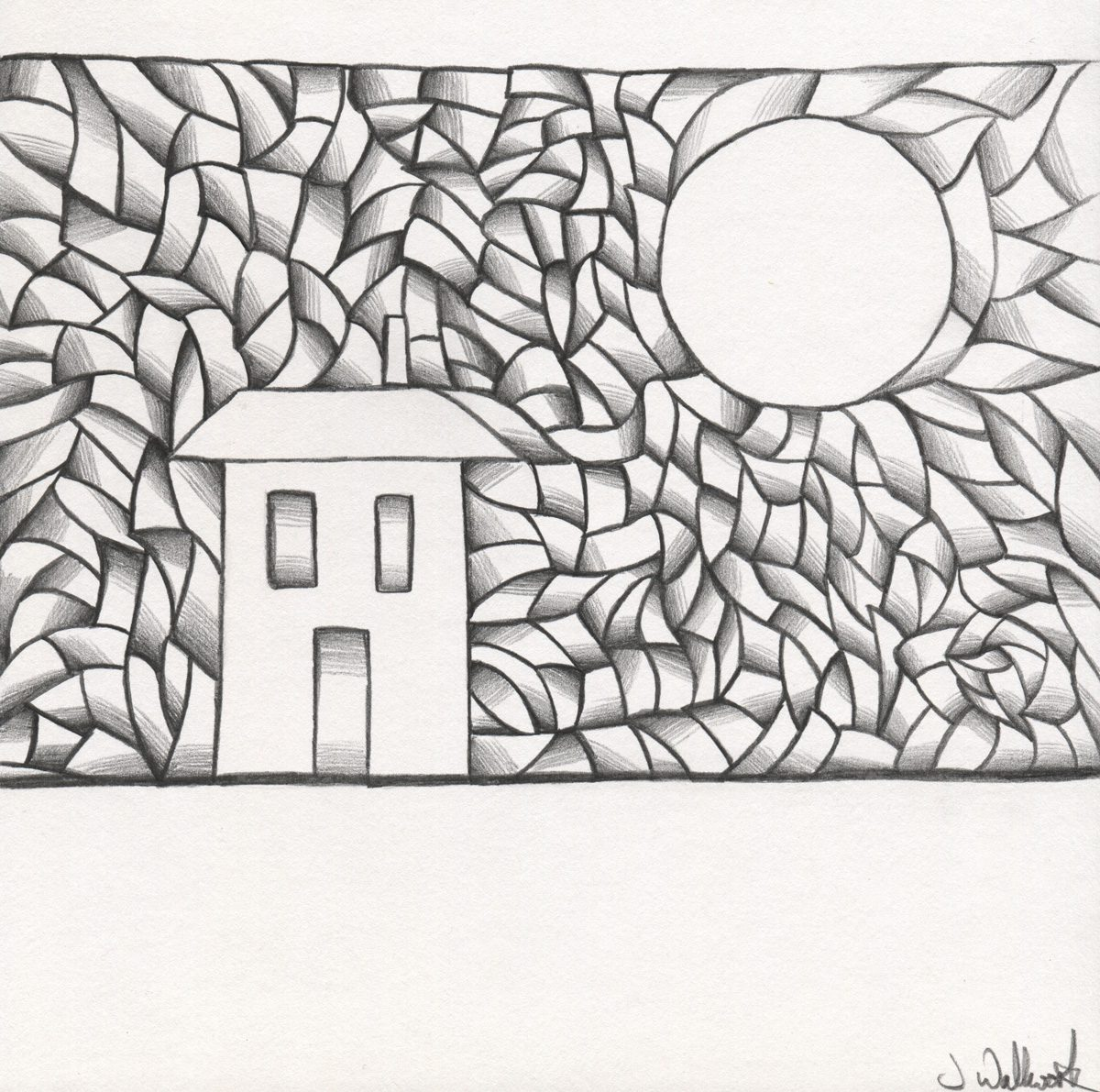 The image shows a piece of artwork by Jina Wallwork. It is a drawing of a house. Stylistically this piece of artwork has links with expressionism and the images by children.