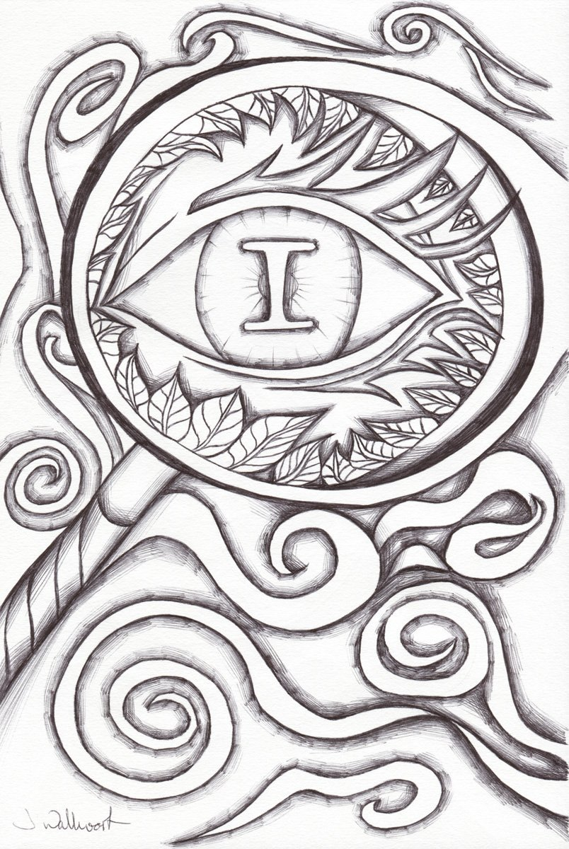 The image shows a piece of artwork by Jina Wallwork. It is a drawing of an eye. Stylistically this piece of artwork has links with surrealism.