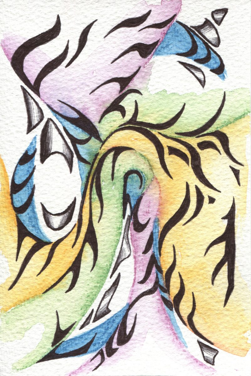 The image shows a piece of artwork by Jina Wallwork. It is a ink and watercolor painting of abstract subject matter. Stylistically this piece of artwork has links with abstract art.