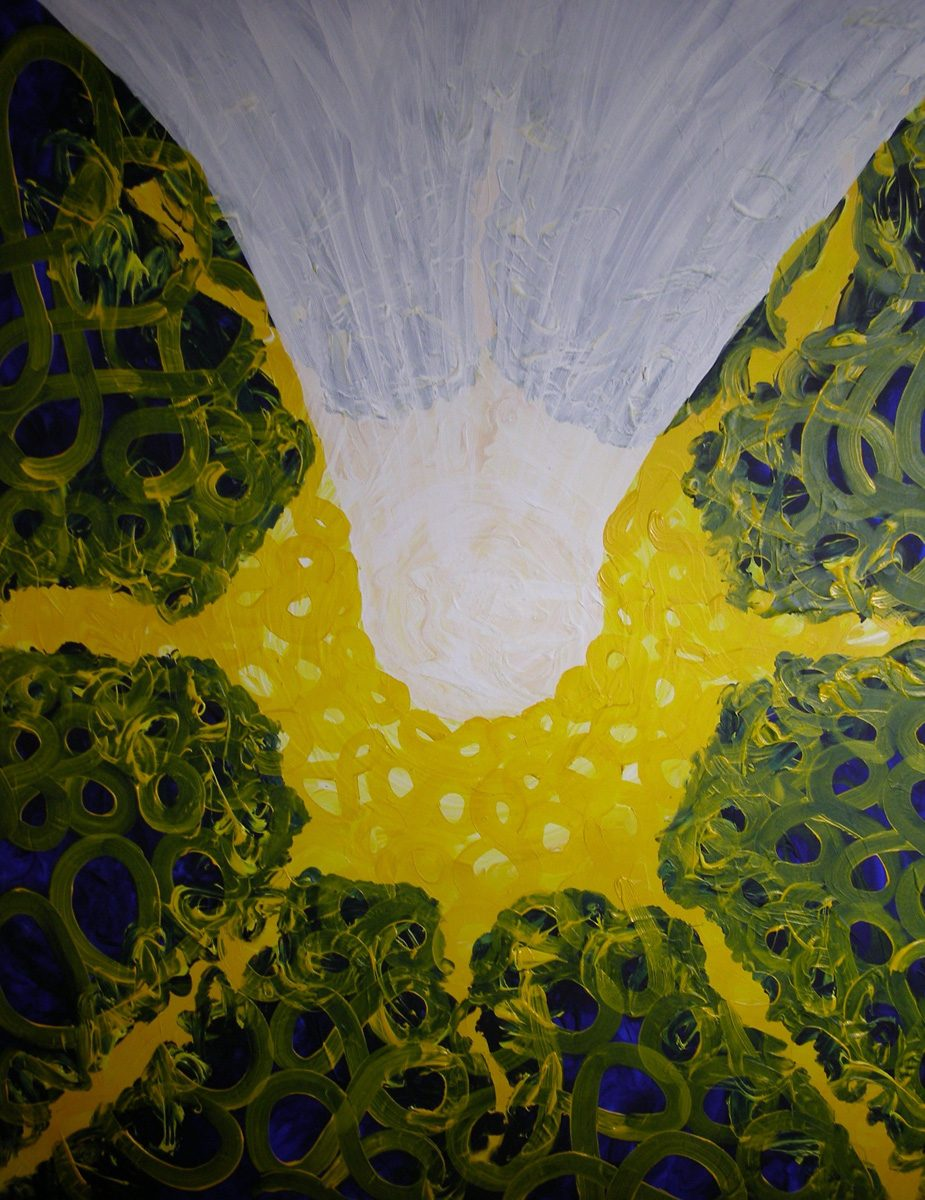 The image shows a piece of artwork by Jina Wallwork. It is a Painting of the soul entering the universe to begin the process of birth. This piece of artwork has links with visionary art.