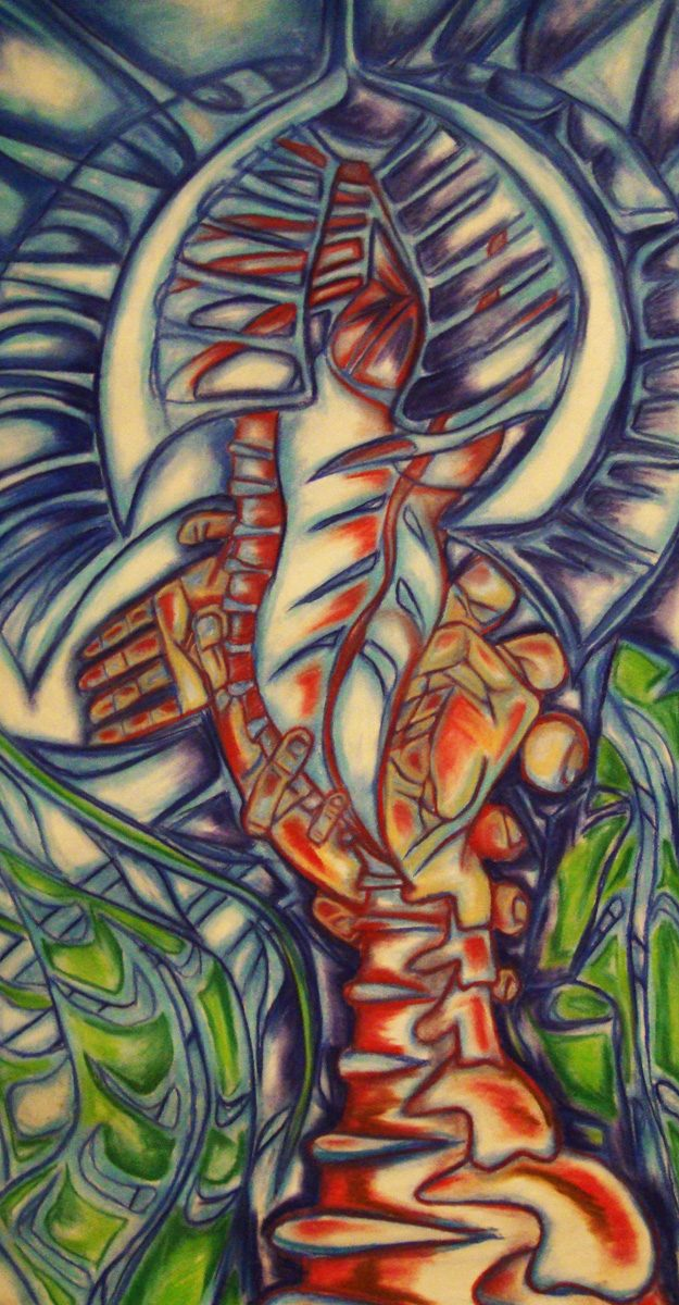 The image shows a piece of artwork by Jina Wallwork. It is a chalk drawing of hands and a skeleton. Stylistically this piece of artwork has links with surrealism.