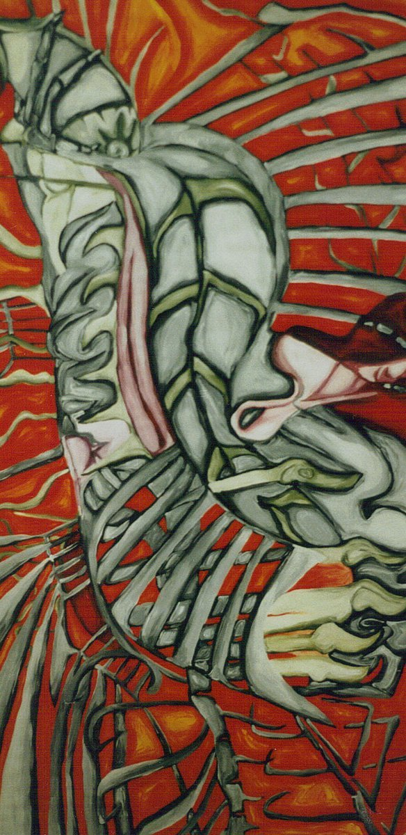 The image shows a piece of artwork by Jina Wallwork. It is a painting of bones and nature. Stylistically this piece of artwork has links with surrealism.