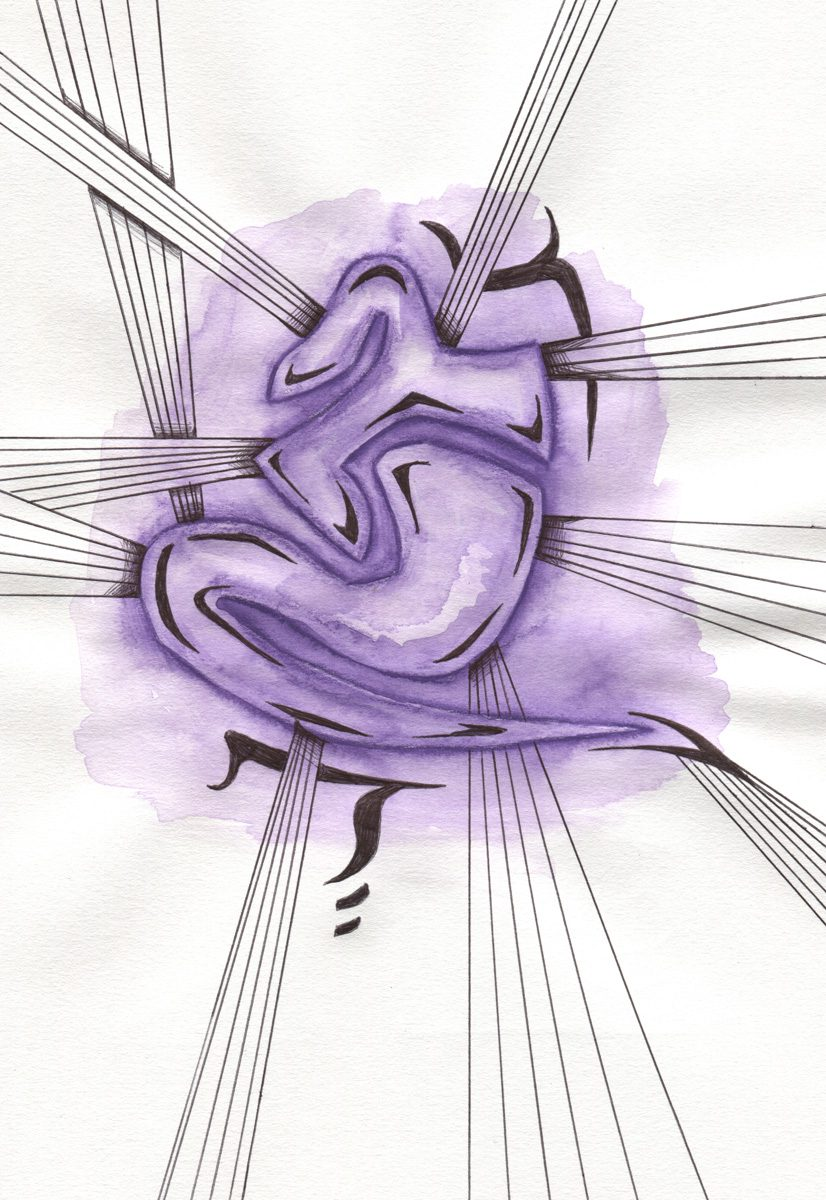 The image shows a piece of artwork by Jina Wallwork. It is an ink and watercolor drawing of a daily meditation. Stylistically this piece of artwork has links with abstract art.