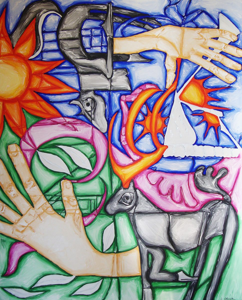 The image shows a piece of artwork by Jina Wallwork. It is a painting of horses and hands. Stylistically this piece of artwork has links with surrealism.