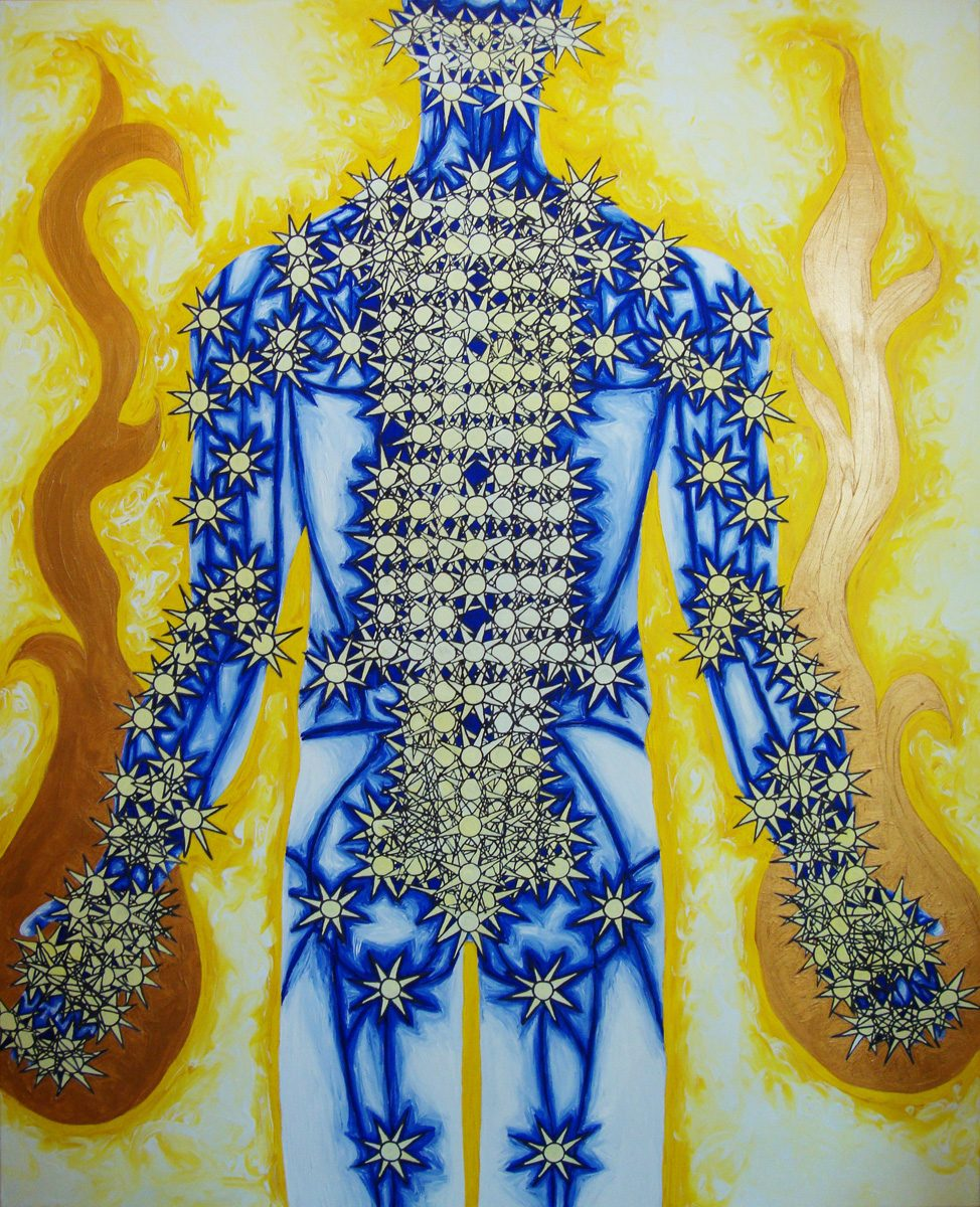 The image shows a piece of artwork by Jina Wallwork. It is a painting of a person. Stylistically this piece of artwork has links with visionary art and expressionism.